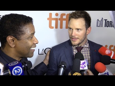 Denzel Washington and Chris Pratt at The Magnificent Seven premiere at TIFF