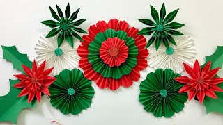 Paper Flower Wall Decoration Ideas For Christmas | Wall Decor Ideas