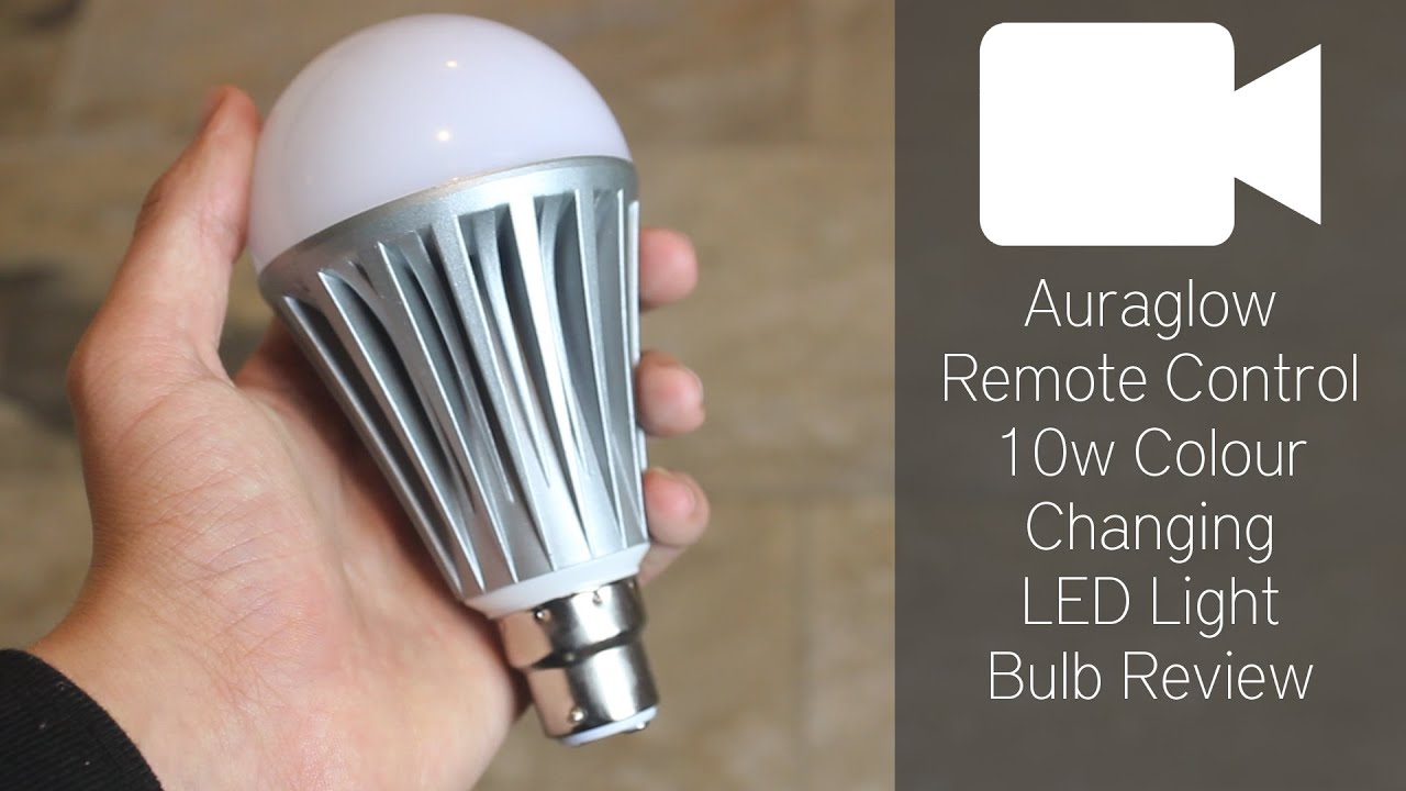 Auraglow Remote Control 10w Colour Changing LED Light Bulb Review   YouTube