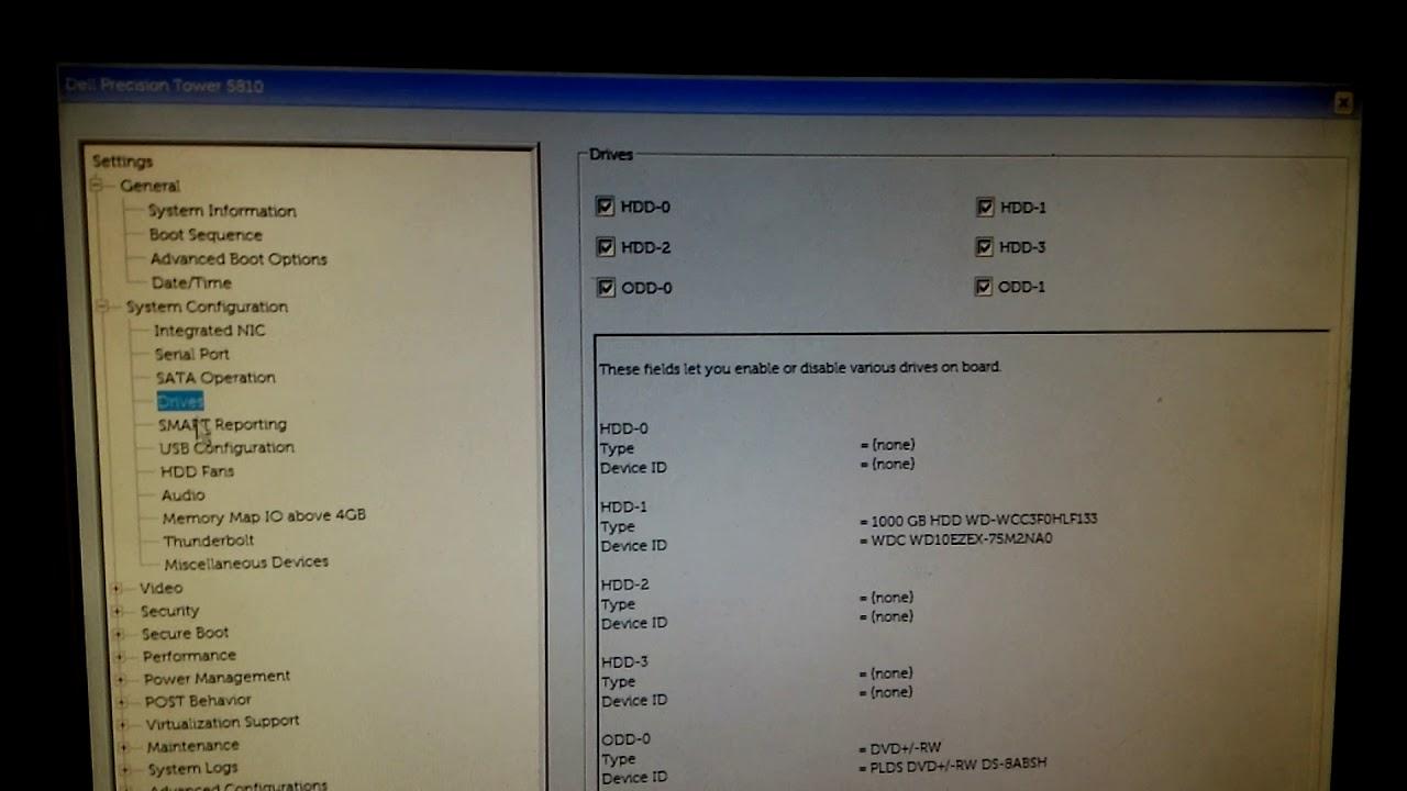 Dell Precision Tower 5810 BIOS setting