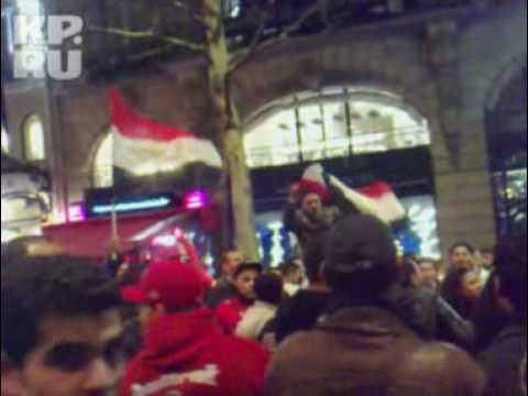 Paris Arabs celebrate Egypt soccer victory of Cup of Africa