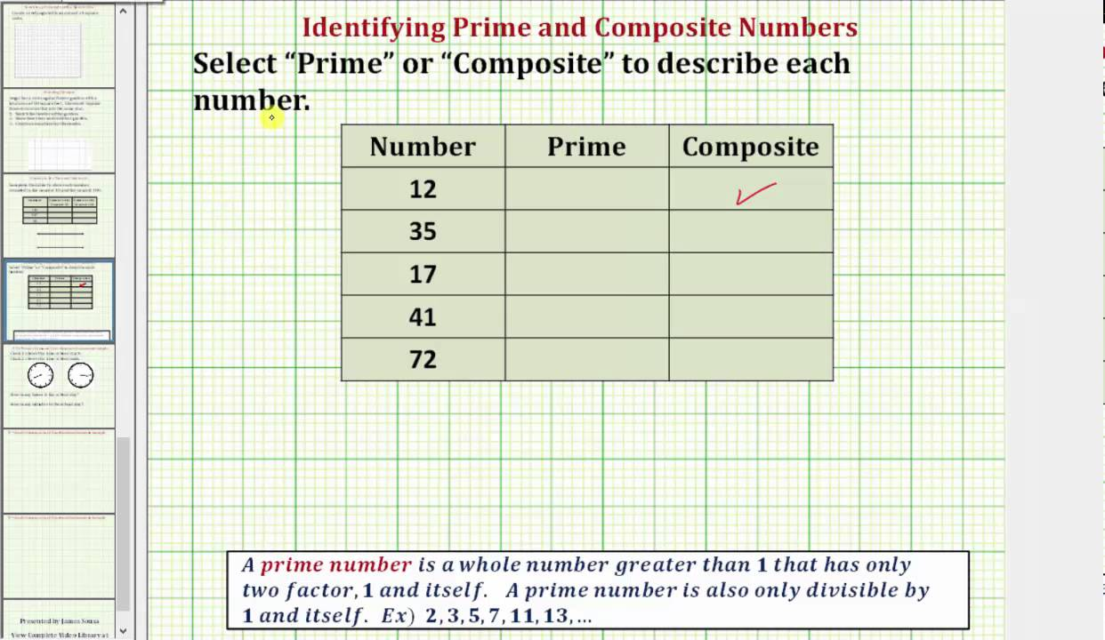 Determine Prime And Composite Numbers Common Core 3 4 Math Ex 20