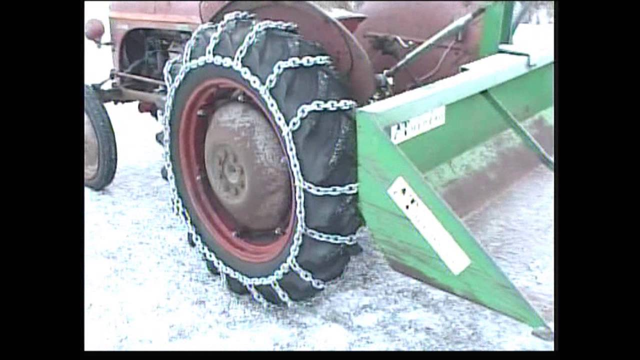 Homemade tire chains for the tractor - YouTube