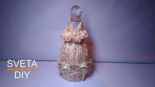 Декор бутылки в стиле шебби шик. Мастер класс от Sveta D Y. Декорирование бутылки своими руками