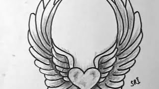 How to Draw A Lovely heart with wings
