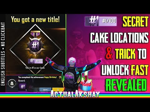 Trick to unlock #1/100 Title Fast! | Happy Birthday Achievement | Cake Locations