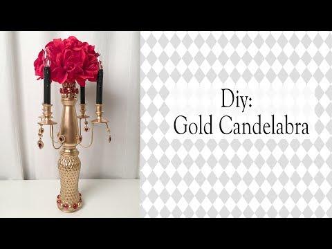 Alice in Wonderland DIY / GOLD CANDELABRA