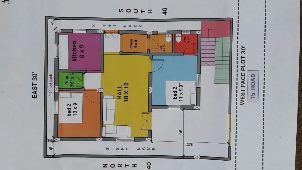 2bhk 30 40 west face house plan map naksha youtube for Naksha for house making