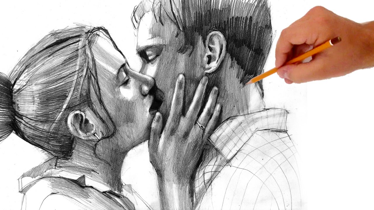 How to draw kissing people valentines day special ii youtube