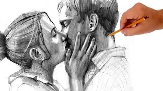 How to draw kissing people - Valentine