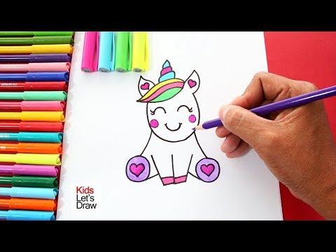 Cómo Dibujar Un Unicornio Kawaii Fácil How To Draw A Unicorn Cute