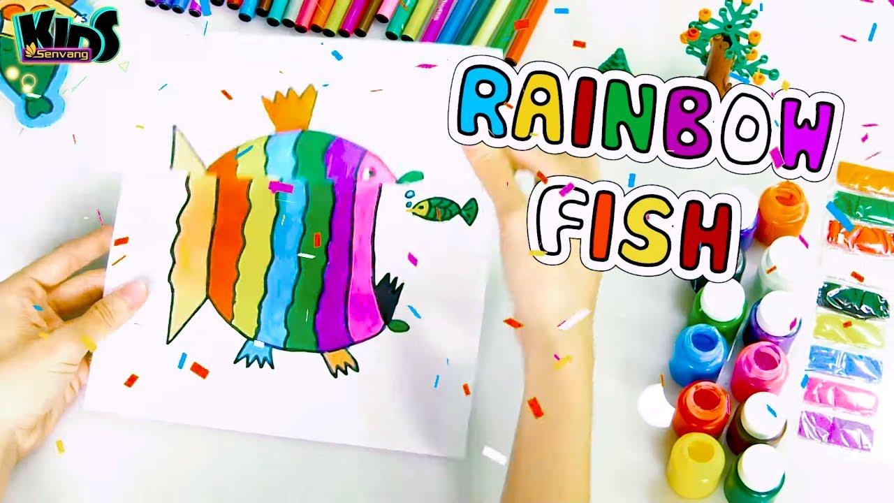 DIY - How to draw a rainbow fish easy - Dạy bé vẽ và tô màu cá cầu vồng