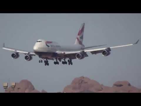 British Airways Boeing 747-400 G-BNLX Landing at Phoenix Sky Harbor PHX