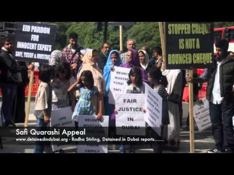 Detained in Dubai Reports:  Safi Quarashi Appeal at UAE Embassy in London