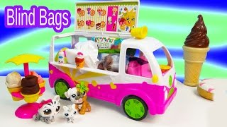 Shopkins Season 3 Scoops Ice Cream Truck Filled With Surprise Blind Bag Toys Unboxing Fun  Video