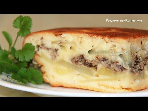 Заливной пирог с рыбной консервой и картофелем. Быстрый пирог на кефире.