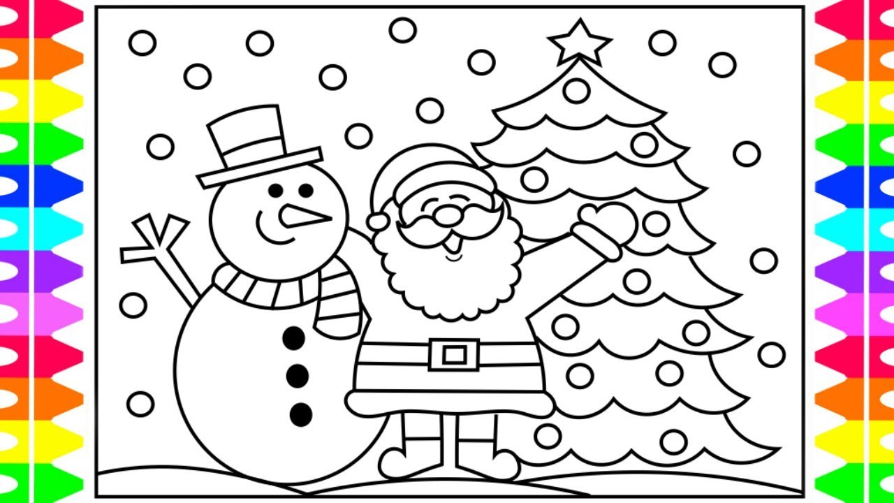 how to draw santa step by step for kids santa and snowman coloring page fun coloring pages kids