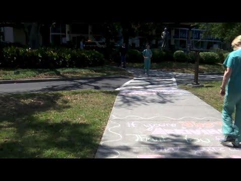 Sidewalk messages left for hospital workers
