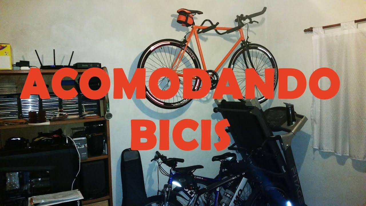 Acomodando mis bicicletas soporte de pared para bicicleta - Guardar bicicletas en poco espacio ...
