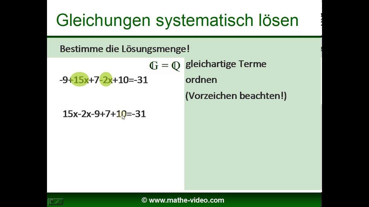 Gleichungen lösen - Aufgaben und Lösungen (7) - YouTube
