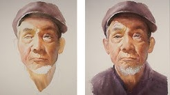 Watercolor portrait painting tutorial - old man portrait