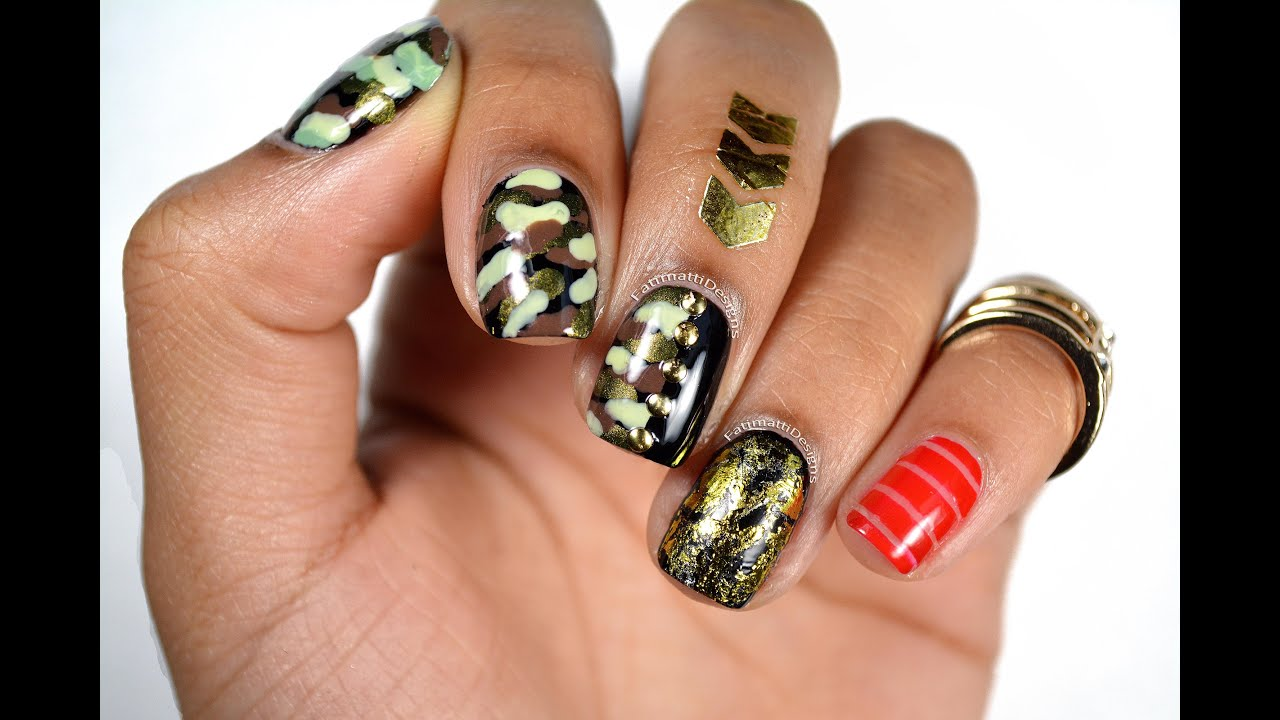 Diy Camo Gold Foil And Red Straps Edgy Urban Nail Art Youtube