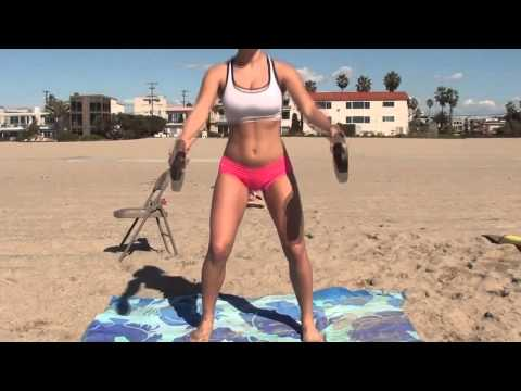 HOT! Bikini Model's Legs and Butt Workout at Beach
