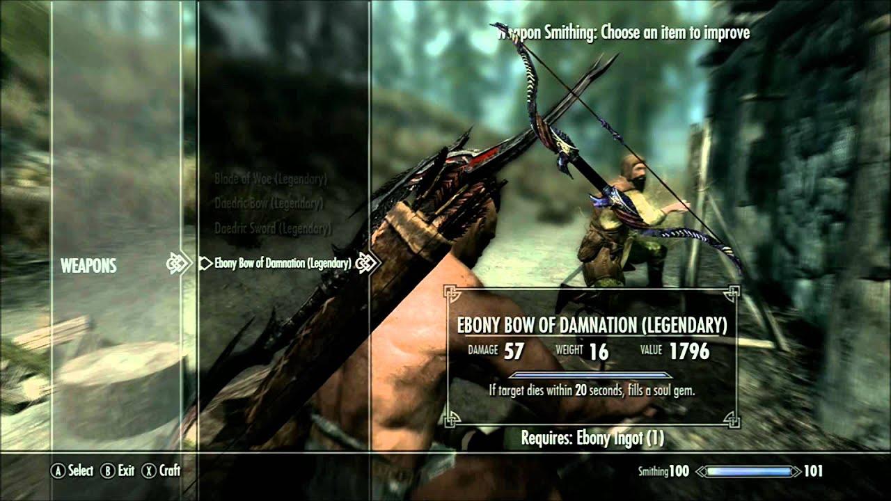 skyrim ebony bow of damnation legendary smithing youtube rh youtube com skyrim legendary edition smithing guide skyrim legendary edition smithing guide