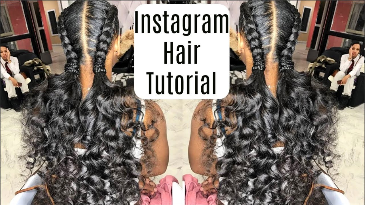 Instagram Inspired French Braids Ponytail Curls Hairstyles Tutorial Protective Hairstyle