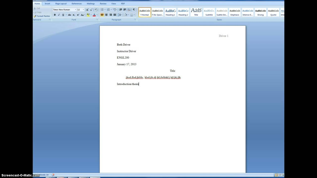 Short narrative essay