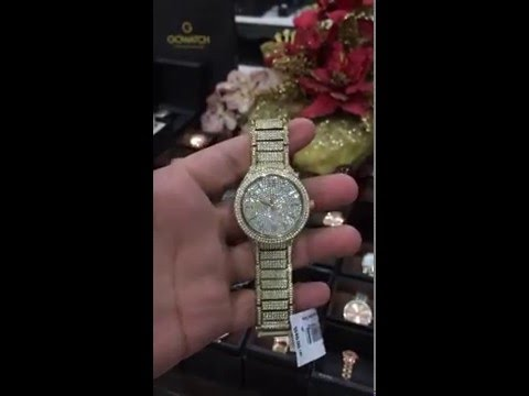 db601855ad8c MICHAEL KORS Kerry Crystal Pave Dial Crystal-Set Steel Ladies Watch Item  No. MK3360