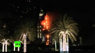 New Year's Eve inferno: At least 20 of 63 stories of Address Downtown Dubai Hotel on fire