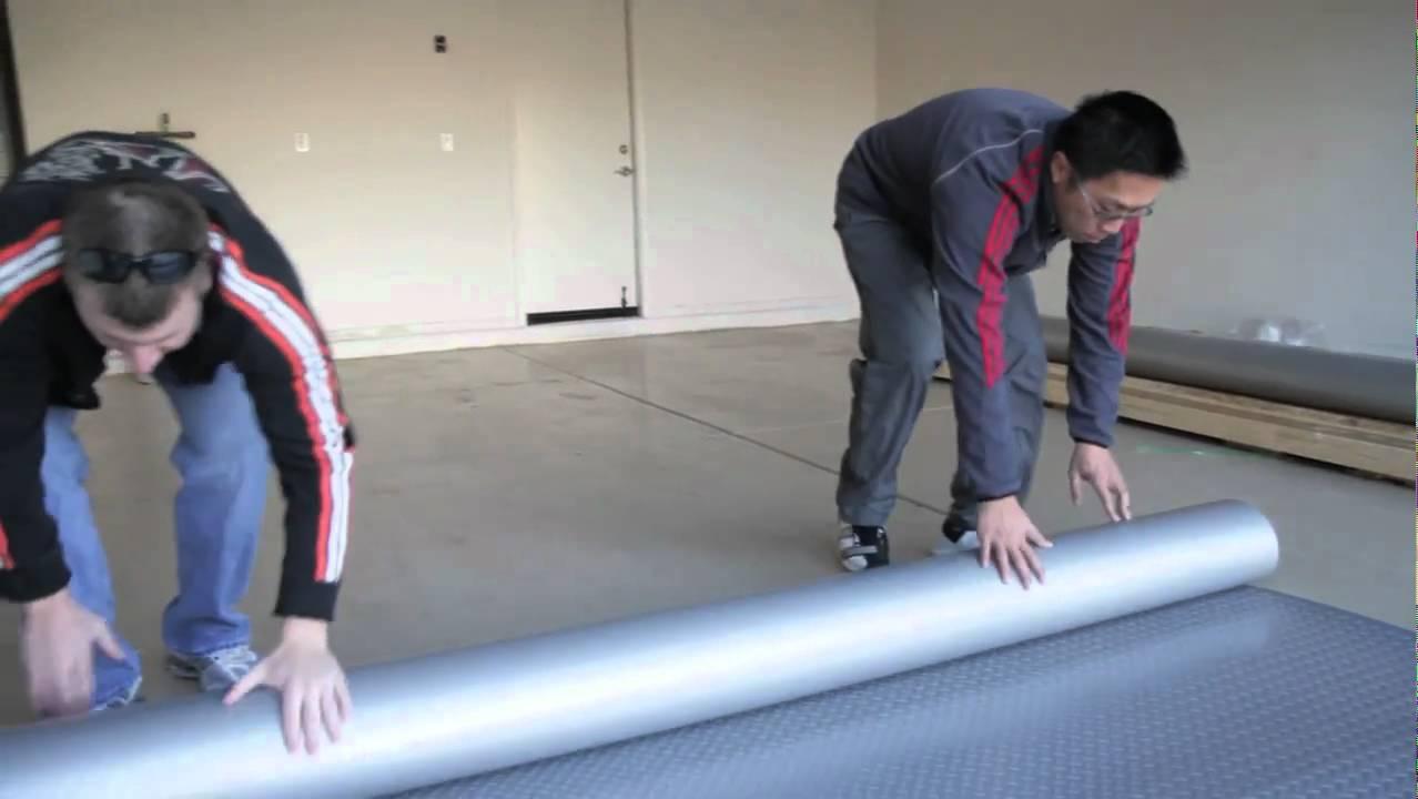 how to install garage flooring rolls