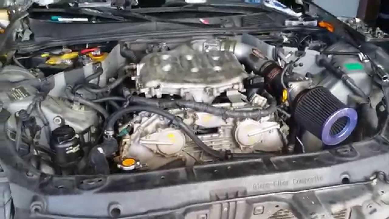 g35 engine swap, first start - YouTube