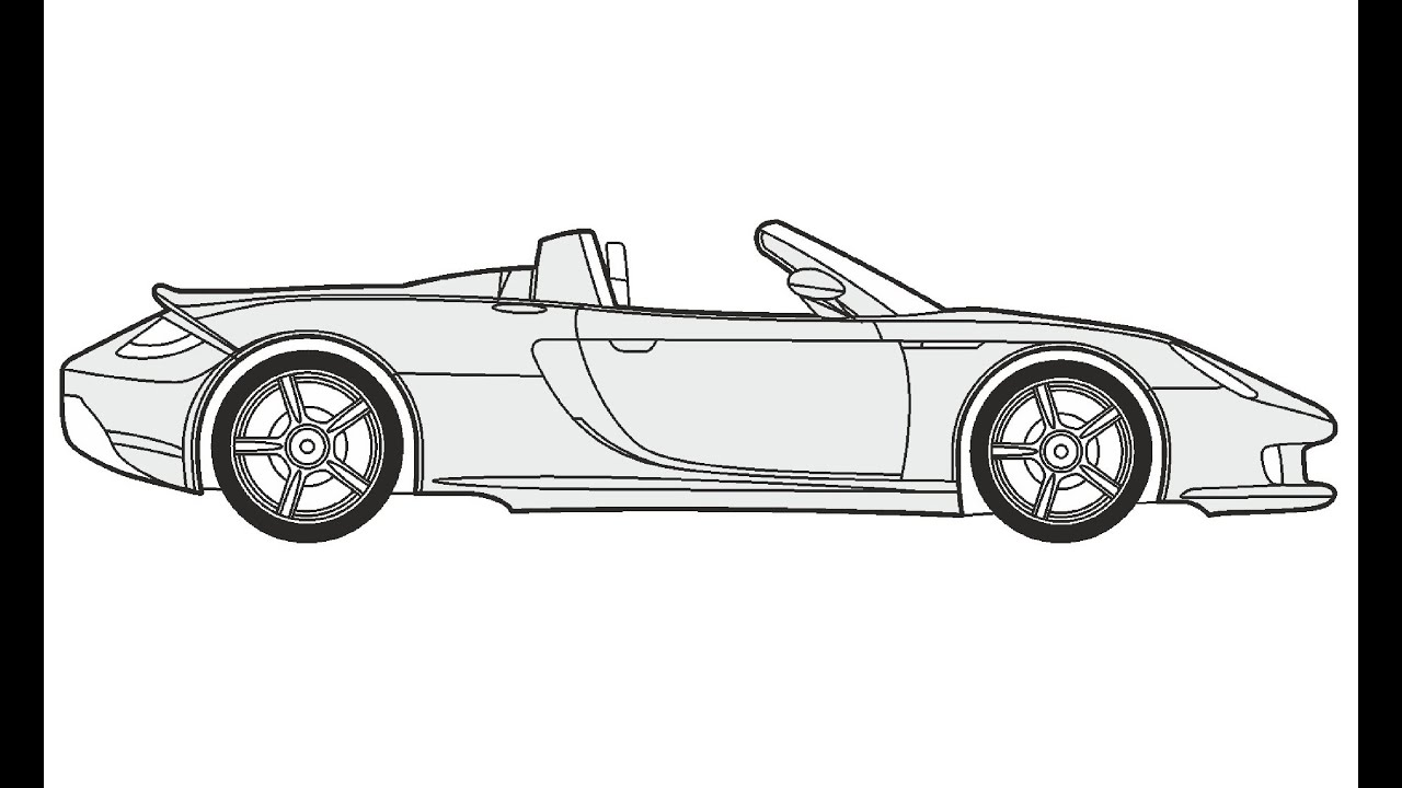 Car Coloring Pages Side View : Sports car drawing side view imgkid the image