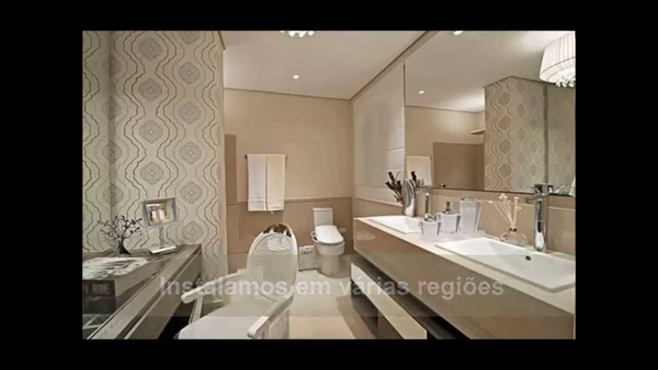 Lavabo decorado com papel de parede youtube - Papel de pared moderno ...
