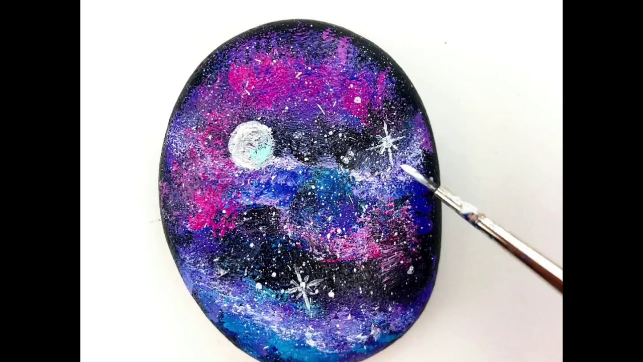 How To Paint A Galaxy Rock Youtube