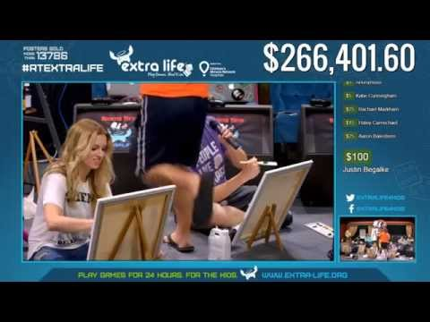 Rooster Teeth's Extra Life Stream 2015 Hour 15 - Painting with Bob Ross and Team Social Disorder