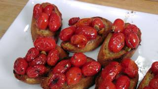 roasted cherry tomato bruschetta recipe by laura vitale laura in the kitchen ep181
