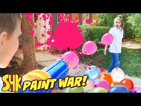 Paint War April Fools Day Battle! SuperHeroKids