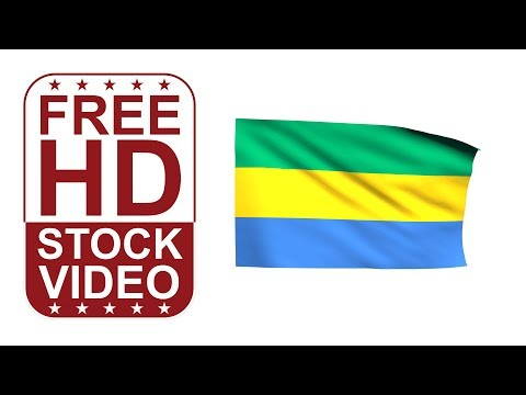 FREE HD video backgrounds – Gabon flag waving on white background 3D animation