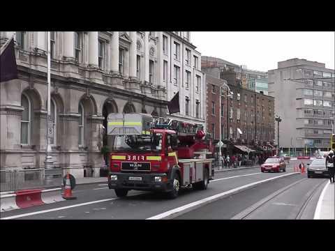 Dublin Fire Brigade, Ambulances and Garda Responding in Dublin City, Ireland