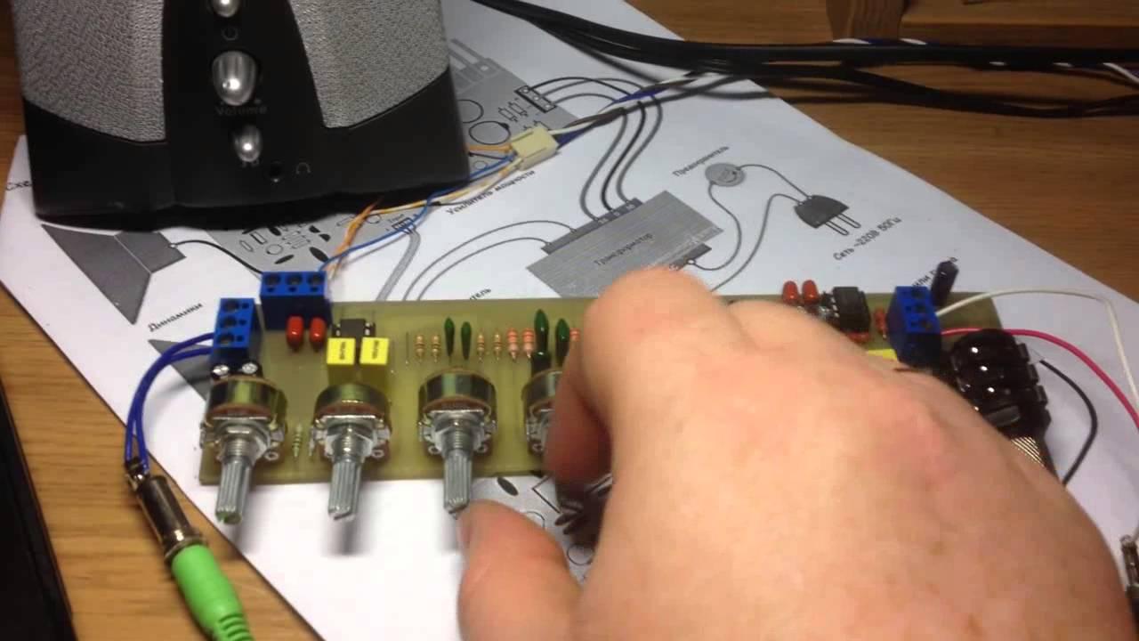 Стерео темброблок с микрофонным усилителем и линейным входом (без слов)