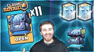 OPENING x11 NEW LEGENDARY KINGS CHEST! ROYAL GHOST PLZ! | Clash Royale NEW CARD HUNT!!