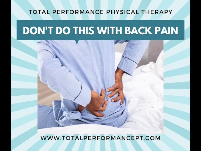 Don't Do This With Lower Back Pain