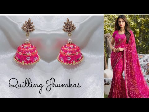 Quilling jhumkas/making matching jhumkas at home/quilling jhumka earrings