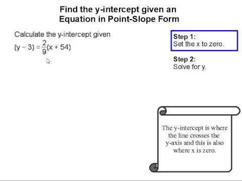 How To Find The Y Intercept Given An Equaiton In Point Slope Form