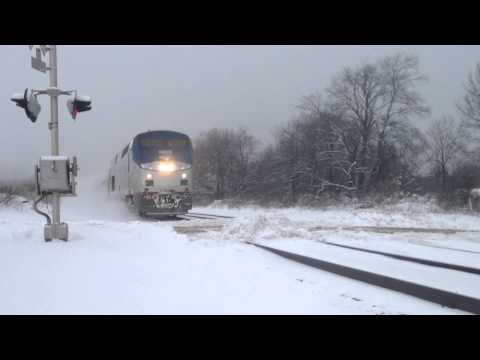 Thumbnail: Amtrak hits HUGE snow pile!!! (I get blasted)
