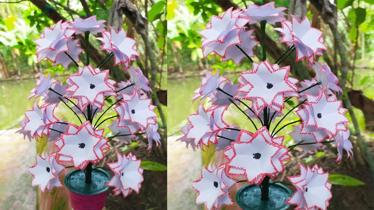 How to Make paper flower Tree.Making Flower.