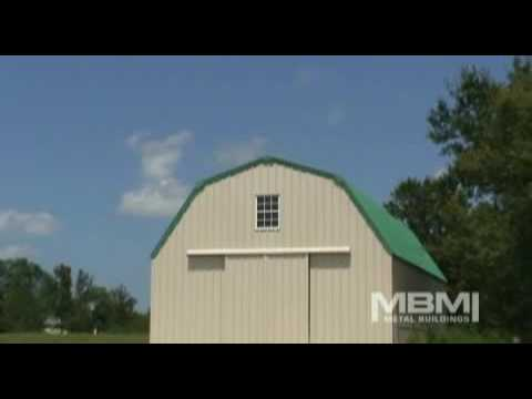 Steel barn with gambrel roof youtube for Gambrel roof barn kits